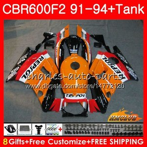 Body + réservoir pour HONDA CBR CBR 600 600F2 CBR600FS FS F2 91 92 93 94 40HC.0 600CC CBR600 F2 CBR600F2 1991 1992 1993 1994 Carénage Repsol d'orange