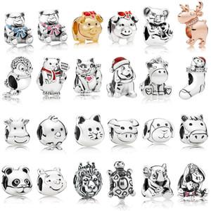 925 Ayar Gümüş Hayvan Takılar Çok Stil Kedi Köpek Ayılar Aslan Boncuk Fit Pandora gümüş 925 Orijinal Charm Bilezikler Takı
