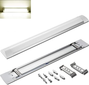 US Stock LED Tube Lights Fixture 4Ft LED Purification Lamp Linear Light with Brackets Milky Cover for Workshop Warehouse Garage Closet Home