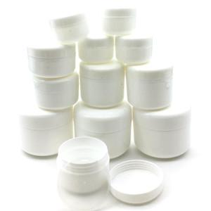 30 pcs 10g / 20g / 30g / 50g / 100g de maquiagem vazia frasco frascos frascos frascos de amostra de viagem de viagem de face creme lotion recipiente cosmético branco