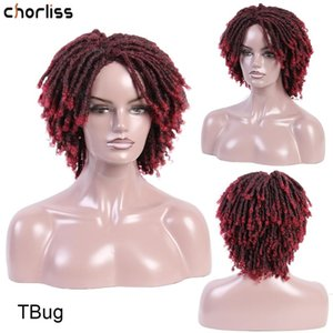 Dreadlock Hair Wigs Soft Short Synthetic Wigs Kinky Curly For Women Crochet Braid Wig Ombre Bug High Temperature Fiber