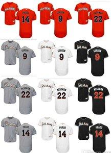 2020 Nueva encargo Hombres Mujeres Miami Marlins al por mayor de # 14 Martín Prado 9 Dee Gordon 22 Dustin McGowan rojo blanco gris de los niños niñas jerseys del béisbol