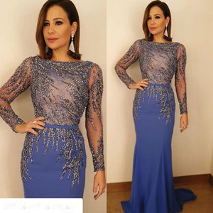 Modern Blue Lace Beaded Evening Dresses Mermaid Long Sleeves Prom Dresses Custom Made Satin Evening Gown