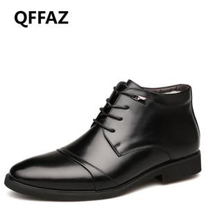 QFFAZ Uomini Stivali uomini peluche caldo Calzature per l'inverno vestito della neve alla caviglia con lacci di affari del cotone all'interno dei pattini