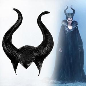 Cosplay de Halloween de la bruja Maléfica cuernos sombrero Headwear Máscara Sombrero del partido Casco Negro Reina de Halloween Accesorios Atrezzo