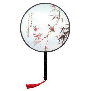 الخشب مقبض الصينية خمر قصر جولة مروحة اليد طباعة حفل زفاف هدية الدعائم أداء الرقص ZC0868