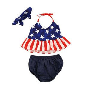 3 Pcs 4th-of-july Kids Sets Baby Girls 4th-of-july Strap Stars Patriotic Tops Shorts Bow Headband Outfits Girl Clothes Outfits