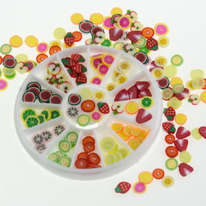 Moda 3D Polymer Clay minúsculo prego Fimo Fruit slices Roda da arte DIY Designs prego Roda da arte Detalhes no Atacado