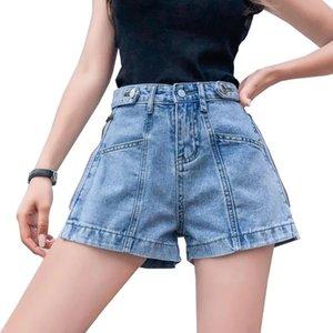 Women's A-Line High Waist Shorts Blue Black Letters Zip Casual Short Jeans For Women Girl Fashion Denim Pants