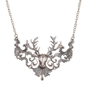 Gothic Style Punk Rock 3D Deer Head Animal Pendant Collar Necklace Sweater Chain