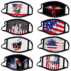 2020 Independence Day New atacado nos rodeia Máscara Facial 3D Moda à prova de poeira Viagem Outdoor Essencial Máscara de tecido estampado Silk Ice