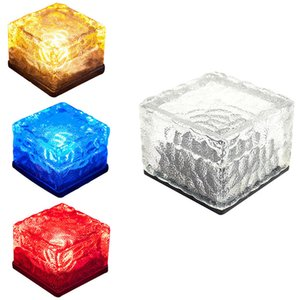 Chemin solaire Ice Cube Lumières, imperméable à l'eau Changement de couleur en Groud Buried LED en verre givré brique roche lampe