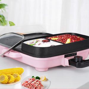 Hot Pot Multi functional Cooking Pot Electric Grill Household Electric Intelligent Temperature Control Baking Tray Mini Electric Pink