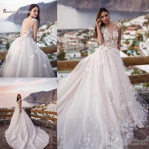 2020 Oksana Mukha Braut Böhmen-Strand-Braut-Kleid-Spitze 3D Blumenapplikationen Backless A Line Brautkleid Plus Size
