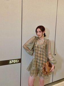 2020 Summer Collection alta calidad de lujo marca italiana de Milán diseñador impresa con lentejuelas de moda elegante plisado del mini vestido de seda
