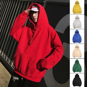 Autumn men's pullover Coat pullover solid color loose plush hooded long sleeve sweater teenager men's coat