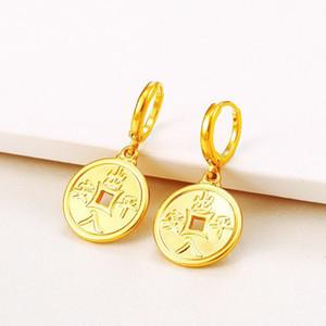 (603E) العملات الصينية محظوظ مجوهرات إسقاط أقراط للنساء 24 كيلو لون الذهب الخالص لا حجر جيد كلمة الصينية triditional