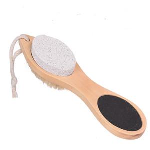 Spazzola per piedi Pietra pomice Pietra per raspa Lima esfoliante Manico in bambù Strumento per pedicure 4 in 1 Scrub multifunzionale per il piede LX7639