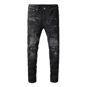 Homens do estilista Jeans Buraco Zipper alta qualidade Jeans Motociclista calças dos homens Preto Tamanho 28-40