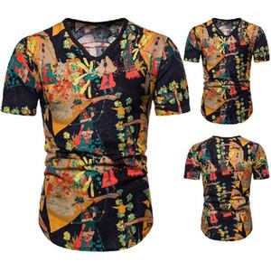 Herren-T-Shirts Sommer-Kurzschluss-Hülsen-V-Ausschnitt Dünne Männer Tops Casual Male Tees Chinese Style Designer