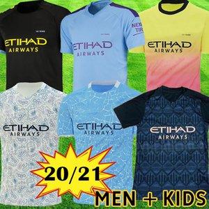 Manchester City Jerseys de fútbol 2019 SANE JESÚS DE BRUYNE KUN AGUERO Camiseta de MAHREZ 18 19 KIT de fútbol Camiseta de la ciudad Los niños adultos establecen el uniforme Hombre Tops