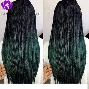 H Schwarz Ombre Grün Perücken Synthetische Geflochtene Lace Front Wigss für Frauen Hochtemperaturfaser-Haar Wigss Premium-Braid Wigss