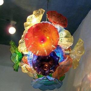 لوحات الإيطالي زهرة الثريا ضوء LED زجاج مورانو قلادة مصابيح LED متعدد الألوان الزجاج المنفوخ الثريا الإضاءة