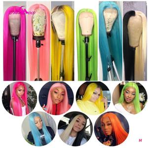 Rosa Colorido Cabelo Humano Perucas Remy brasileira Hetero 13x4 peruca dianteira do laço Verde Amarelo Luz Vermelha Azul Roxo Ombre perucas para mulheres