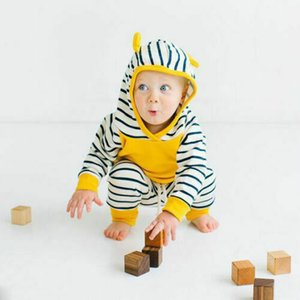 0-3Years New born Infant Baby Boy Girl unisex clothes Hooded striped sweatshirt Tops +Pants 2pcs Set casual outfits