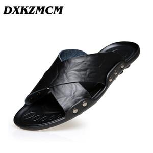 DXKZMCM Hombres Zapatos de verano Tamaño grande 38-45 Sandalias para hombre Calidad de cuero Casual Hombre Transpirable Sandalias de playa