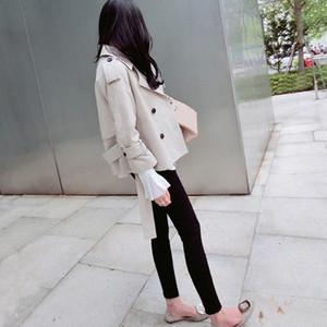 أزياء الخريف عالية الجودة النساء مزدوجة الصدر سترة واقية قصيرة التعادل المؤنث معطفا مزاجه معطف سترة خندق الص