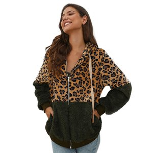 2019 Fashion Plüsch Stitching Leopard Mantel lose Taschen Zipper Thick Jacke Jacke Herbst und Winter mit Kapuze für Frauen