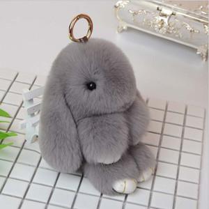 100 Adet Tavşan Anahtarlık Sevimli Kabarık Bunny Anahtarlık Rex Orijinal Tavşan Kürk Anahtarlık Pom Pom Oyuncak Bebek Çant ...