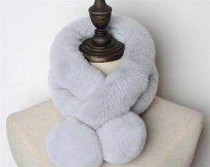 Direktverkauf der Hersteller echten Kaninchenfell Pelzschal Frauen Winter warm verdickte Doppelrohr Kugelkugel reine Farbe rex Kaninchenhaar Schal