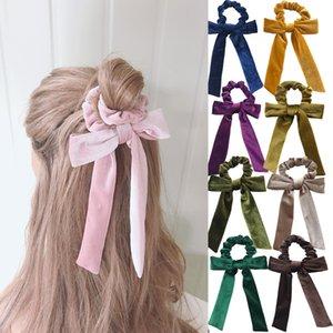 16 color High Quality Women Velvet Bow Streamer Scrunchies Hair Tie Elastic Hair Bands Ponytail Holder Girls Hair Accessories