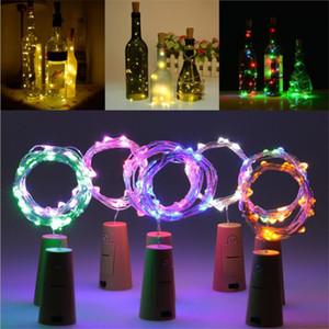 2M 20 LED Weinflaschenleuchten mit Korken Eingebaute Batterie LED Korkform Silber Kupferdraht Bunte Fee Mini Lichterketten