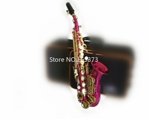 High Quality Soprano Saxophone B Flat Small Bend Neck Pink Body Gold Keys Musical instrument Professional With Free Case