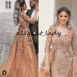 Champagne blush dentelle sirène robes de soirée avec trois Modest manches détachables train quart de bal Robes Robes De Festa