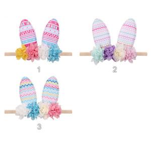 Клипы Easter Bunny Rabbit Ear Шпилька оголовье Детские девушки DIY ободки Cute Baby Headwrap Цветы Цветочные Bowknot волос аксессуары E22703