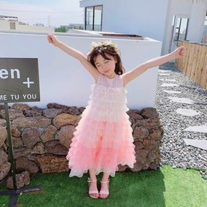 Mangas Fuffly de 2020 Pink Cherry Primavera-Verão Gradient Crianças Dress Tulle Princesa Bolo Vestido LD207