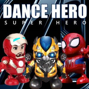 Dança Homem De Ferro Bumblebee spider-man Action Figure Brinquedo robô LED Lanterna com Som Vingadores Hero Brinquedo Eletrônico crianças brinquedos