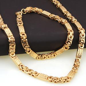 6mm 8mm 11mm breite goldfarbe flache byzantinische kette halskette armband schmuck-sets für männer edelstahl geschenk 8-28 zoll