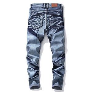 Mode für Männer Blau Jans Hosen Motorradfahrer Waschen Herren-Hosen beiläufige Runway Denim-Reißverschluss-Loch zerrissene Jeans