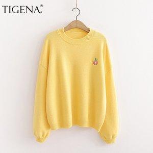 TIGENA Otoño Invierno 2020 suéter de las mujeres de Corea del bordado flojo fruta Jersey de punto Jumper femeninas verde amarillo de géneros de punto ropa