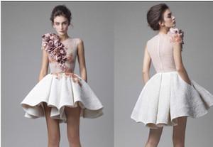 Krikor Jabotian Short Homecoming Dresses Striking Ruffles 3D Handmade Floral Appliques Party Dresses Cocktail Modest Stylish Vestidos