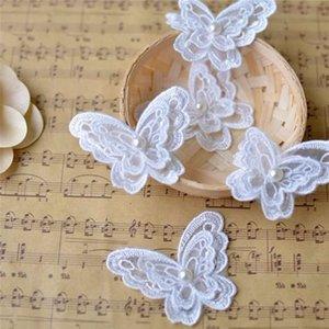 10piece weißen Organza-Stickerei-Gewebe-Spitze Kleidung 3D-Perlen verziert Schmetterlings-Blumen-Flecken-Chiffon-Kleid-Hochzeits-Kleid-Rock-Dekoration