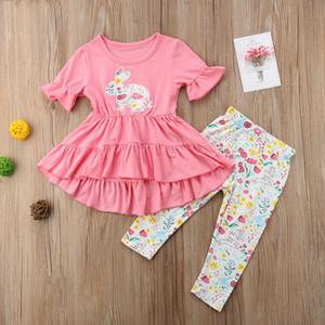 Bébé filles De Pâques Lapin Ruffles Dress Pants Set enfants vêtements de créateurs Cartoon Rabbit Floral Manches Courtes Fleur Imprimer Dress Vêtements A21901