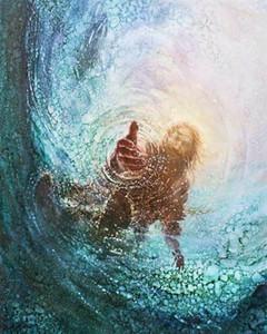 Yongsung Kim Hand Gott Jesus Greifen Hand in das Wasser Wohnkultur HD-Druck-Ölgemälde auf Leinwand-Wand-Kunst-Leinwand-200108