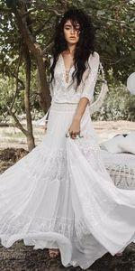 Destello que fluye Vestidos de novia de la diosa griega Inbal Raviv Crochet Lace Holiday Summer Beach Country Boho Vestido de novia nupcial personalizado H031