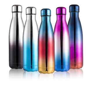 Gradiente Cola Bottle Shaped 11 Cores Vacuum 500ML Copa do isolamento duplo inoxidável xícara de água Aço Outdoor Sports Bottle LJJO7199